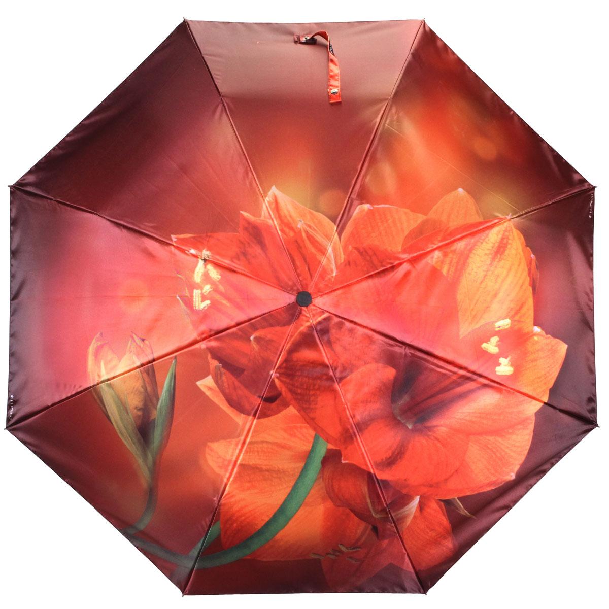 Зонт женский Flioraj Лилия, автомат, 3 сложения. 013-031FJ013-031FJСтильный автоматический зонт Flioraj Лилия в 3 сложения даже в ненастную погоду позволит вам оставаться стильной и элегантной. Каркас зонта из анодированной стали состоит из восьми карбоновых спиц, оснащен удобной прорезиненной рукояткой. Зонт имеет полный автоматический механизм сложения: купол открывается и закрывается нажатием кнопки на рукоятке, стержень складывается вручную до характерного щелчка, благодаря чему открыть и закрыть зонт можно одной рукой, что чрезвычайно удобно при входе в транспорт или помещение. Купол зонта выполнен из прочного сатина черного цвета и оформлен изображением лилии. На рукоятке для удобства есть небольшой шнурок-резинка, позволяющий надеть зонт на руку тогда, когда это будет необходимо. К зонту прилагается чехол.