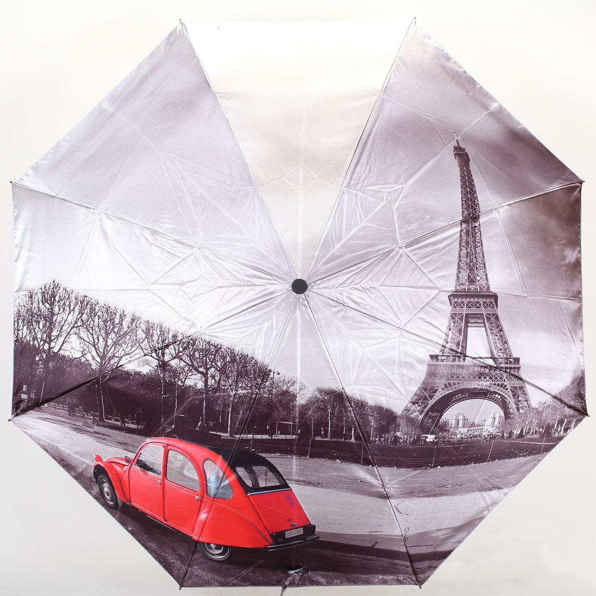 Зонт женский Flioraj Париж, автомат, 3 сложения. 013-047FJ013-047FJСтильный автоматический зонт Flioraj Париж в 3 сложения даже в ненастную погоду позволит вам оставаться стильной и элегантной. Каркас зонта из анодированной стали состоит из восьми карбоновых спиц, оснащен удобной прорезиненной рукояткой. Зонт имеет полный автоматический механизм сложения: купол открывается и закрывается нажатием кнопки на рукоятке, стержень складывается вручную до характерного щелчка, благодаря чему открыть и закрыть зонт можно одной рукой, что чрезвычайно удобно при входе в транспорт или помещение. Купол зонта выполнен из прочного сатина серого цвета и оформлен изображением красной машины на фоне Эйфелевой башни. На рукоятке для удобства есть небольшой шнурок-резинка, позволяющий надеть зонт на руку тогда, когда это будет необходимо. К зонту прилагается чехол.