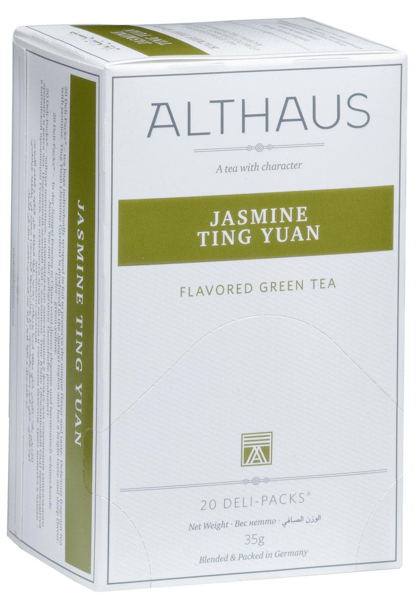 Althaus Jasminе Ting Yuan чай ароматизированный в пакетиках, 20 штTALTHB-DP0020Jasminе Ting Yuan — замечательный китайский зеленый чай с жасмином. Jasminе Ting Yuan (в переводе Жасминовый сад) производится в китайской провинции Гуанси. Вкус этого чая — элегантный и ароматный. Легкий напиток превосходно сочетается с блюдами китайской кухни. Оптимальная температура заваривания Jasminе Ting Yuan 85°С. В каждой упаковке находится по 20 пакетиков чая для чашек. Страна: Китай. Температура воды: 75-85 °С. Время заваривания:2-3 мин. Цвет в чашке: зелено-желтый. Althaus - премиальная чайная коллекция. Чай, ингредиенты и ароматизаторы для своих купажей компания Althaus получает от тщательно выбираемых чайных садов, мировых поставщиков высококачественных сублимированных фруктов и трав, а также ведущих европейских производителей ароматизаторов. Пакетик Deli Pack представляет собой порционный двухкамерный мешочек из фильтр-бумаги, запаянный в специальный термоконверт с алюминиевой фольгой. Материал конвертов, в которые...