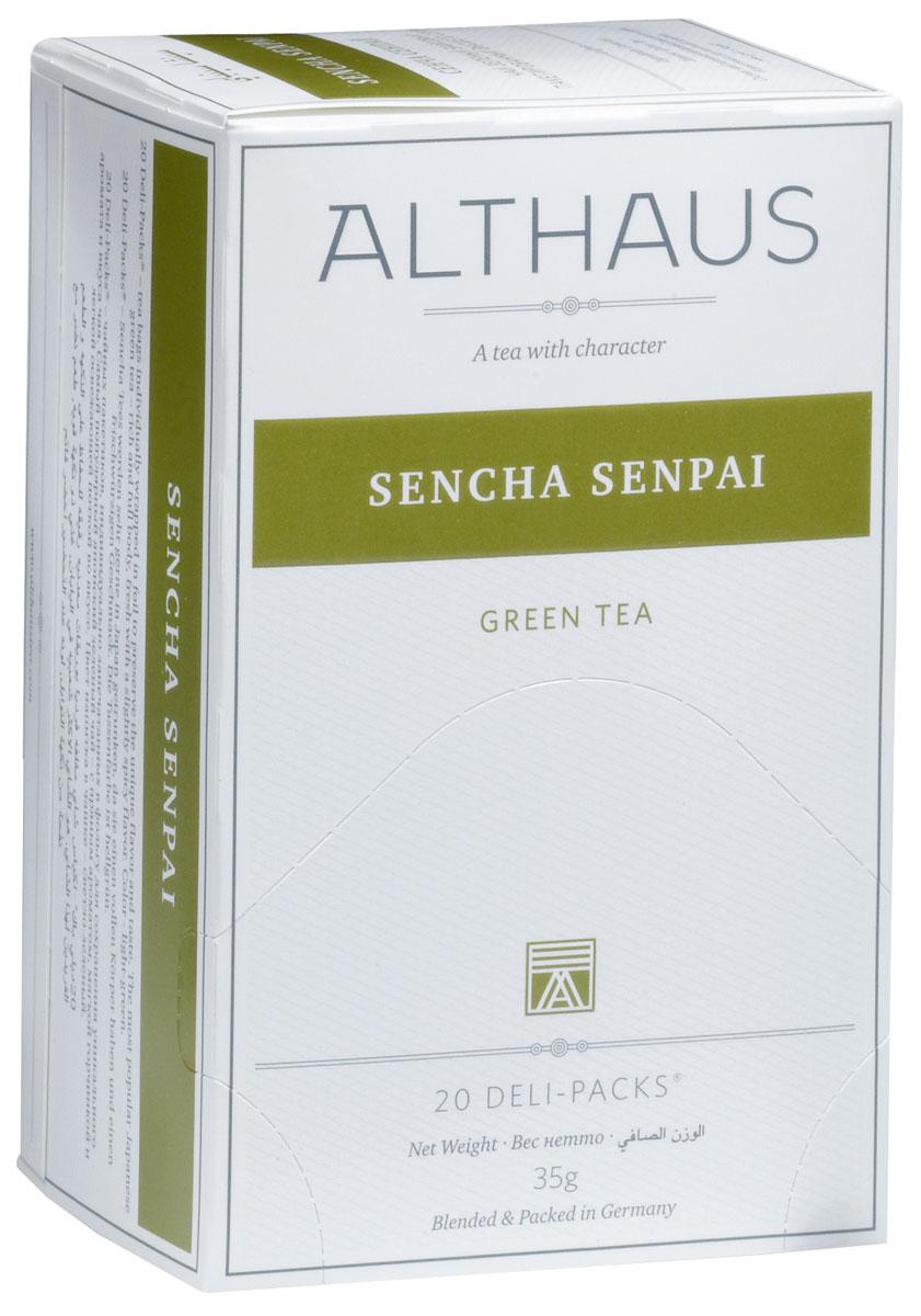 Althaus Sencha Senpai чай зеленый в пакетиках, 20 штTALTHB-DP0019Sencha Senpai - классический японский зеленый чай, обработанный по особой технологии на пару. Сенча обладает терпким вкусом с утонченным травянистым ароматом, мягкой горчинкой и легкой сладковатой ноткой. Сенча Сенпай превосходно сочетается с японской кухней. Оптимальная температура заваривания Сенча Сенпай 80°С. В каждой упаковке находится по 20 пакетиков чая для чашек. Страна: Япония. Температура воды: 75-85 °С. Время заваривания: 2-3 мин. Цвет в чашке: светло-зеленый. Althaus - премиальная чайная коллекция. Чай, ингредиенты и ароматизаторы для своих купажей компания Althaus получает от тщательно выбираемых чайных садов, мировых поставщиков высококачественных сублимированных фруктов и трав, а также ведущих европейских производителей ароматизаторов. Пакетик Deli Pack представляет собой порционный двухкамерный мешочек из фильтр-бумаги, запаянный в специальный термоконверт с алюминиевой фольгой. Материал конвертов, в которые...