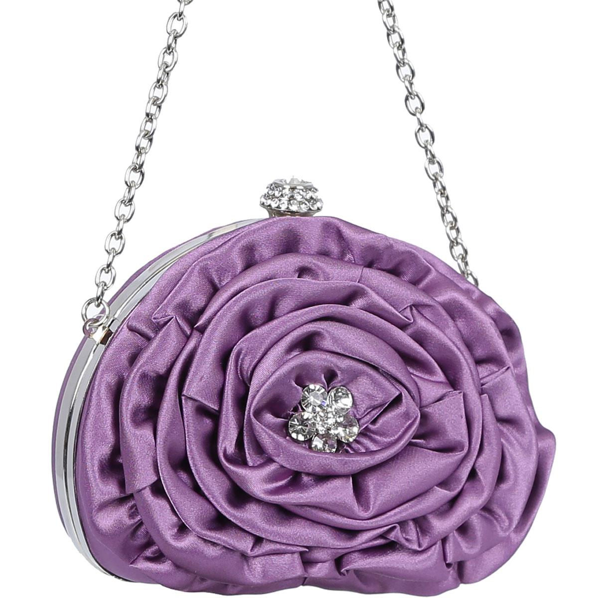 Клатч Fabretti, цвет: фиолетовый. 5410-55410-5 purpleЭлегантный вечерний клатч Fabretti выполнен из полиэстера и металла. Изделие оформлено оригинальным цветком из текстиля, который дополнен стразами. Изделие содержит одно отделение и закрывается на рамочный замок, декорированный стразами. Внутри расположено вместительное отделение. Клатч оснащен укороченным ремнем-цепочкой, который позволит носить изделие на запястье. Клатч Fabretti прекрасно завершит ваш праздничный образ.