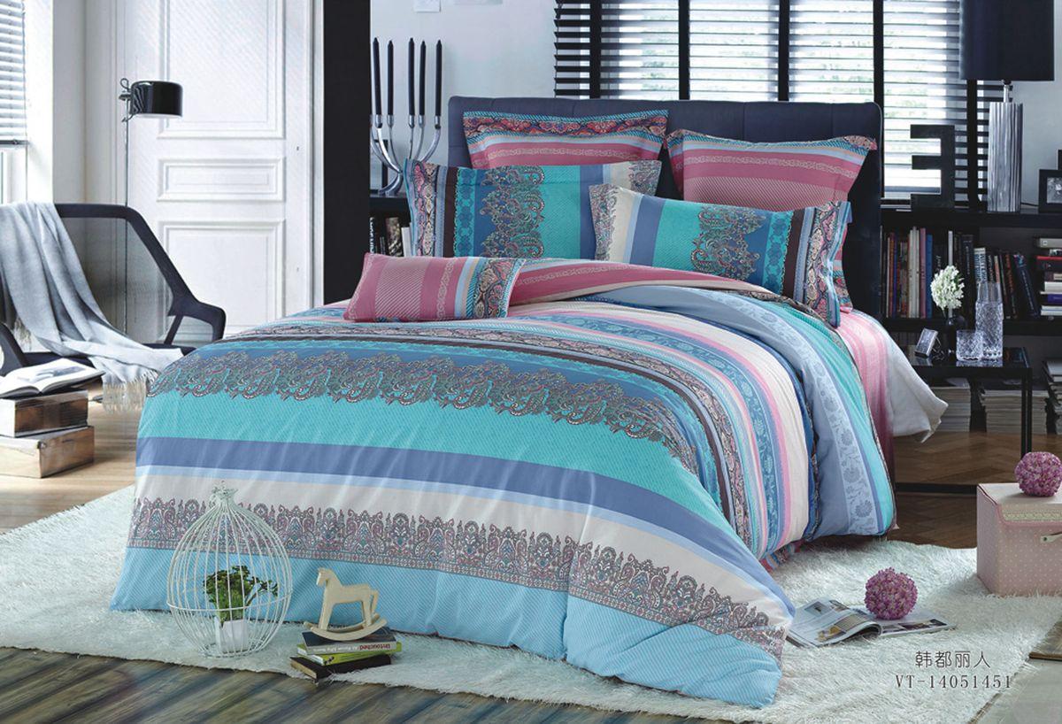 """Комплект белья Диана """"La Vanille"""", 2-спальный, наволочки 70х70, цвет: розовый, голубой, бирюзовый. С-643-175-180-70"""