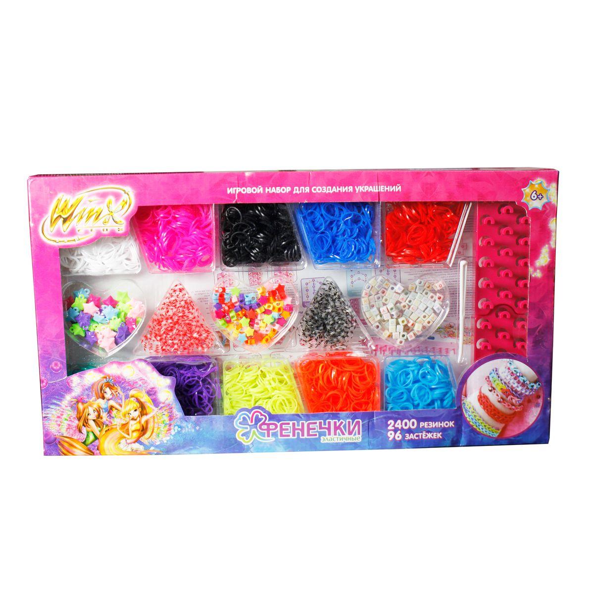 1TOY Набор для плетения Набор фенечек из 10 цветов с аксессуарами WinxТ58333Набор фенечек: 10 цветов, 2400 резинок,шармы,бисер, 96 застёжек,1 крючок,3 станка для плетения, в коробке, 1toy Winx