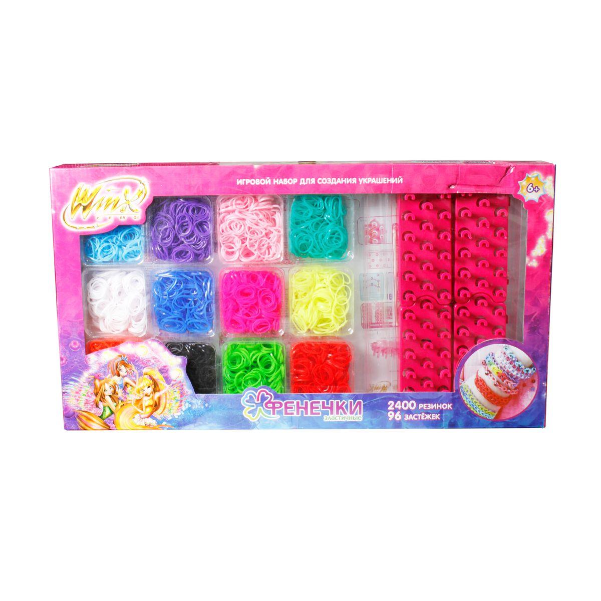 1TOY Набор для плетения Набор фенечек из 12 цветов с аксессуарами WinxТ58334Набор Фенечек: 12 цветов, 2400 резинок, 96 застёжек,2 крючка,4 станка для плетения, в коробке, 1toy Winx