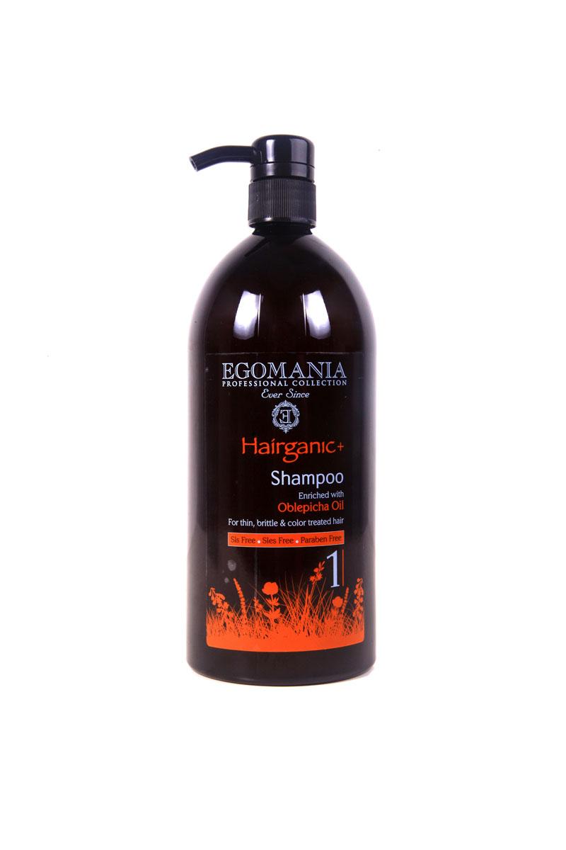 Egomania Professional Collection Шампунь  Hairganic+  с маслом облепихи для тонких, ломких и окрашенных волос 1000 мл1640103Шампунь подходит для сухих, истонченных, ломких, окрашенных и поврежденных волос, проблемной кожи головы и для жирной структуры волос.Основным активным ингредиентом является масло облепихи, которое содержит в большом количестве аскорбиновую кислоту (витамин С), каротин (провитамин А), витамины В1,В3. Шампунь не только очищает структуру волос, но и снимает раздражение и зуд кожи головы, увлажняет волосы, делая их мягкими, послушными и блестящими. Шампунь эффективно очищает волосы и кожу головы, за счет окиси камеди и экстракта граната, растворяет жирные кислоты и нормализует работу сальных желез. Входящие в состав сок листьев алоэ и масло сладкого миндаля нормализуют водный баланс. Грязь Мертвого моря является естественным природным абсорбентом. Шампунь сохраняет цвет, способствуя закреплению искусственного пигмента, не вымывая его.
