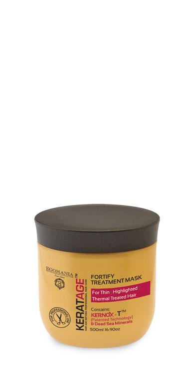 Egomania Professional Collection МаскаKeratage «Суперукрепление» для тонких, осветленных, подвергающихся тепловому воздействию волос 500 мл644378Маска интенсивно питает, предотвращает ломкость и интенсивно увлажняет волосы изнутри. Уникальный комплекс КЕРНОКС-Т на основе минералов Мертвого моря, экстракта имбиря, масел облепихи и макадамии замедляет процесс старения волос, укрепляет волосы изнутри, поддерживая естественный баланс влаги и защищая от негативного воздействия агрессивной окружающей среды. Экстракты ромашки и корня женьшеня плотно запечатывают кутикулу волоса. Сок листьев алоэ обволакивает структуру волоса, делая ее легкой, защищенной и целостной.