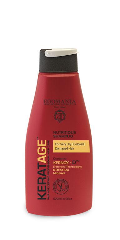 Egomania Professional Collection Шампунь Keratage Ультрапитание для очень сухих, окрашенных и поврежденных волос 500 мл830053Шампунь подходит для очень сухих, поврежденных, пористых, ломких, окрашенных волос, тщательно очищает и интенсивно увлажняет волосы и кожу головы. Уникальный комплекс КЕРНОКС-Д на основе минералов Мертвого моря, экстракта граната, масел примулы и шиповника восстанавливает структуру окрашенных волос, защищает их от пересушивания и замедляет процесс старения волос. Гидролизованный кератин, попадая в структуру волоса, крепится в местах разрыва собственного кератина волоса, что позволяет восстановить структуру от корня до конца. Сок листьев алоэ и экстракт граната с экстрактом цветков ромашки, плотно запечатывают кутикулярный слой, предотвращая вымывание активных компонентов.