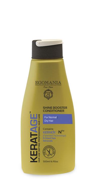 Egomania Professional Collection Кондиционер  Keratage «Экстраблеск» для нормальных и сухих волос 500 мл830107Кондиционер предназначен для нормальных длинных, истощенных и ломких волос. Такой волос нуждается в усилении не только внутренней структуры, но и наружной. Кондиционер моментально восстанавливает эластичность структуры волос, смягчает и облегчает расчесывание. Уникальный комплекс КЕРНОКС-N на основе минералов Мертвого моря, экстракта женьшеня, масел оливы и огуречника защищает волосы от негативного воздействия агрессивной окружающей среды, УФ лучей и замедляет старение волос.