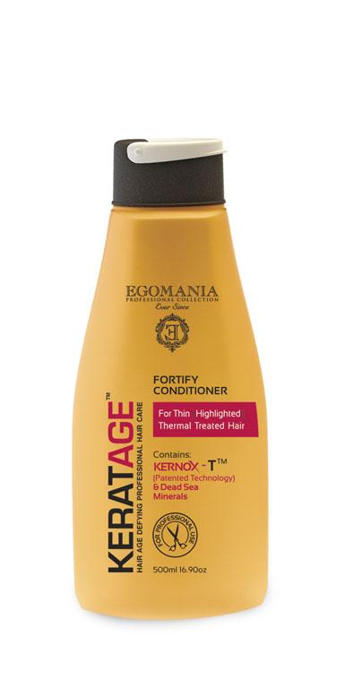 Egomania Professional Collection Кондиционер Keratage «Суперукрепление»для тонких, осветленных, подвергающихся тепловому воздействию волос 500 мл830121Продукт предназначен для тонких, осветленных, безжизненных, часто подвергающихся термическому воздействию. Такой волос нуждается в усилении не только внутренней структуры, но и наружной. Кондиционер моментально восстанавливает эластичность структуры волос, смягчает и облегчает расчесывание. Уникальный комплекс КЕРНОКС-Т на основе минералов Мертвого моря, экстракта имбиря, масел облепихи и макадамии замедляет процесс старения волос, укрепляет волосы изнутри, поддерживая естественный баланс влаги и защищая от негативного воздействия агрессивной окружающей среды.В состав продукта входит масло облепихи, которое повышает светоотражающую функцию и препятствует вымыванию пигмента волоса, делая блондированный волос блестящим и полным живого цвета