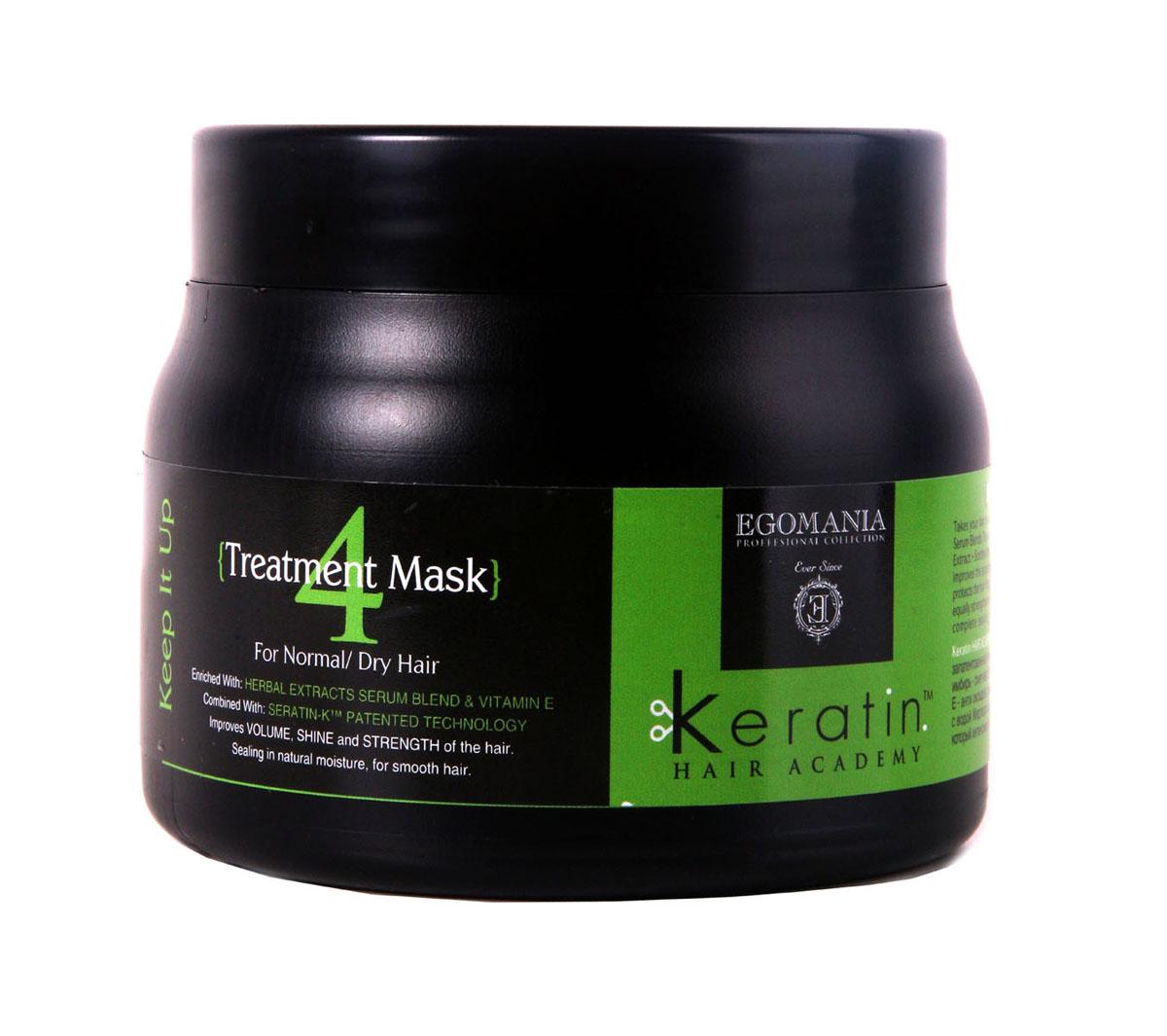 Egomania Professional Collection Маска Keratin Hair Academy Все под контролем! для нормальных и сухих волос 500 мл830275Восстанавливающая маска для нормальных и сухих волос, обогащенная маслами, работает как самостоятельный продукт, благодаря уникальной формуле, которая способствует проникновению питательных компонентов в структуру волоса. Состав этого продукта уникально богат аминокислотами и маслами. Применение маски раз в неделю оказывает поддерживающий уход, полноценное питание структуры волос и поддержание цвета. Отличительной особенностью продукта является то, что он воздействует не только на структуру волоса, но и на кожу головы, нормализуя работу сальных желез.