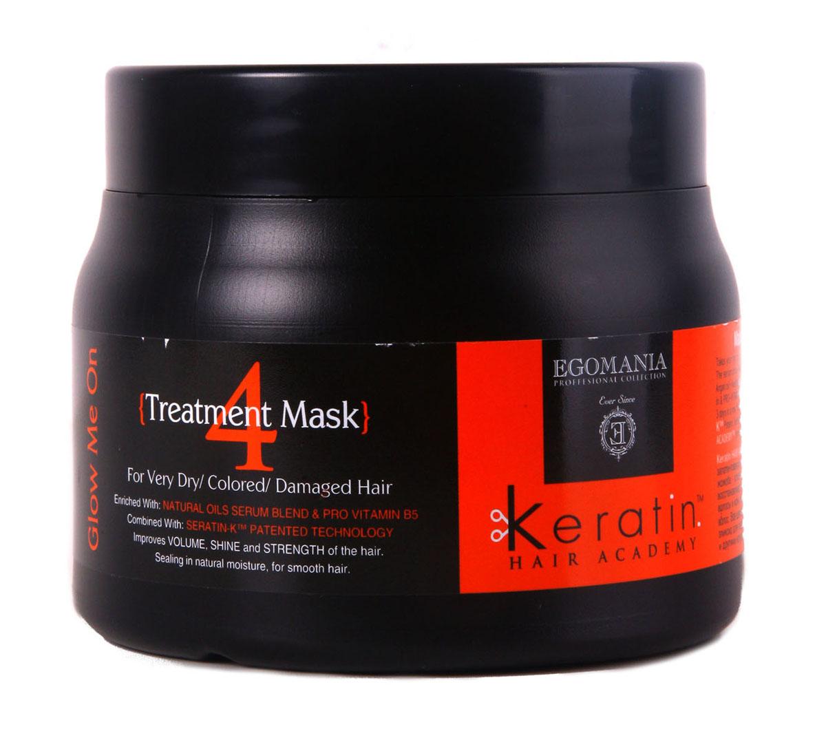 Egomania Professional Collection Маска Keratin Hair Academy Во всем блеске! для очень сухих, окрашенных и поврежденных волос 500 мл830282Восстанавливающая маска для окрашенных, поврежденных и сухих волос, обогащенная маслами ,работает как самостоятельный продукт, благодаря уникальной формуле, которая способствует проникновению питательных компонентов в структуру волоса. Состав этого продукта уникально богат аминокислотами и маслами. Применение маски раз в неделю оказывает поддерживающий уход, полноценное питание структуры волоса и поддержание цвета. Отличительной особенностью продукта является то, что он воздействует не только на структуру волоса, но и на кожу головы, нормализуя работу сальных желез.
