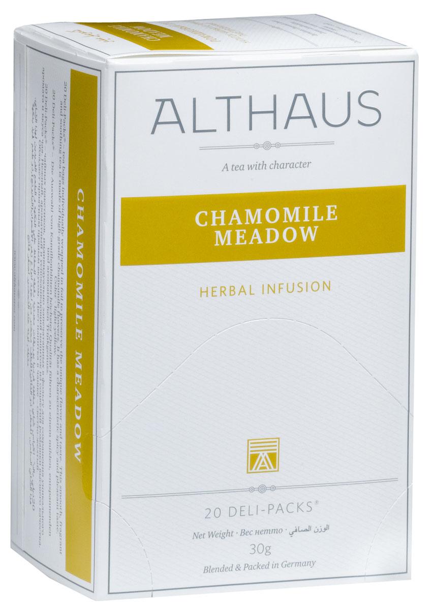Althaus Camomile Meadow чай травяной в пакетиках, 20 штTALTHB-DP0022Camomile Meadow — это сбор ароматных соцветий ромашки высшего качества. Ромашка идеально подходит для вечернего чаепития: этот чай с характерным пряно-цветочным вкусом и мягким ароматом снимает стресс и успокаивает. Ромашка считалась универсальным лекарственным средством с давних времен. Напиток из ромашки богат витамином C, не содержит кофеина и оказывает общеукрепляющее воздействие на здоровье человека. В упаковке находится по 20 пакетиков чая для чашек. Страна: Китай, ЮАР, Германия Температура воды: 85-100 °С Время заваривания: 4-5 мин Цвет в чашке: светло-желтый Althaus - премиальная чайная коллекция. Чай, ингредиенты и ароматизаторы для своих купажей компания Althaus получает от тщательно выбираемых чайных садов, мировых поставщиков высококачественных сублимированных фруктов и трав, а также ведущих европейских производителей ароматизаторов. Пакетик Deli Pack представляет собой порционный двухкамерный мешочек из...