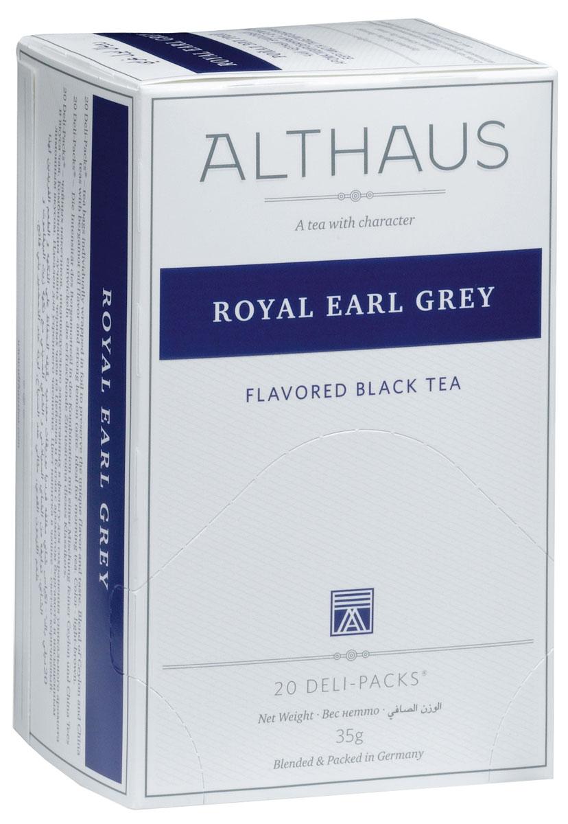Althaus Royal Earl Grey чай ароматизированный в пакетиках, 20 штTALTHB-DP0017Royal Earl Grey - это купаж из лучших индийских и цейлонских сортов черного чая, дающий насыщенный классический вкус с элегантными цитрусовыми нотками бергамота. Масло бергамота способствует концентрации внимания и улучшению настроения, поэтому Эрл Грей идеален для утреннего чаепития. Оптимальная температура заваривания Ройал Эрл Грей 95°С. В каждой упаковке находится по 20 пакетиков чая для чашек. Страна: Индия, Шри-Ланка. Температура воды: 85-100 °С. Время заваривания: 3-5 мин. Цвет в чашке: светло-коричневый. Althaus - премиальная чайная коллекция. Чай, ингредиенты и ароматизаторы для своих купажей компания Althaus получает от тщательно выбираемых чайных садов, мировых поставщиков высококачественных сублимированных фруктов и трав, а также ведущих европейских производителей ароматизаторов. Пакетик Deli Pack представляет собой порционный двухкамерный мешочек из фильтр-бумаги, запаянный в специальный термоконверт с алюминиевой...