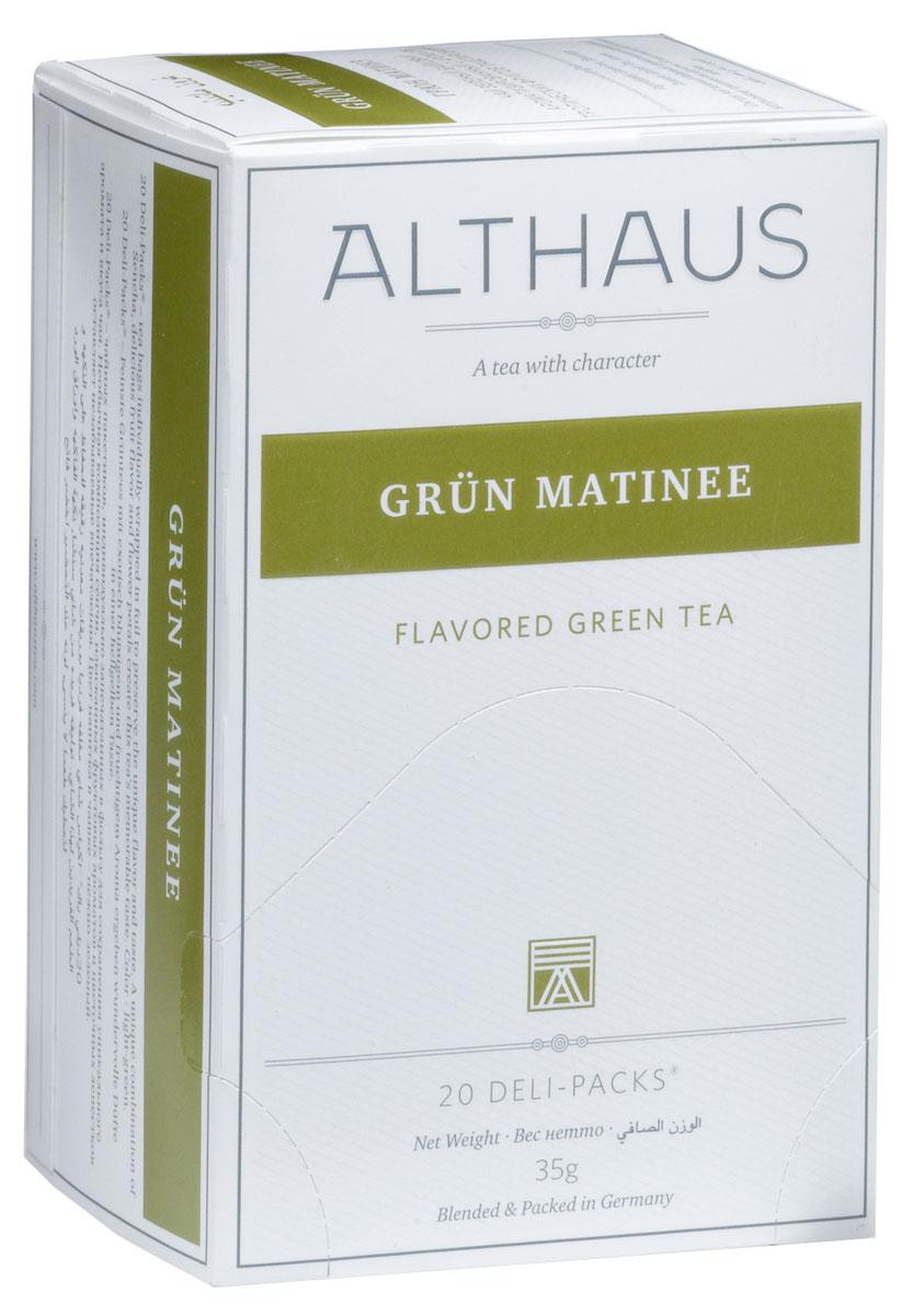 Althaus Grun Matinee чай травяной в пакетиках, 20 штTALTHB-DP0021Grun Matinee - необыкновенный купаж классического японского зеленого чая Сенча, изысканных тропических фруктов. Оптимальная температура заваривания Grun Matinee 85°С. В каждой упаковке находится по 20 пакетиков чая для чашек. Страна: Япония. Температура воды: 75-85 °С. Время заваривания: 2-3 мин. Цвет в чашке: светло-зеленый. Althaus - премиальная чайная коллекция. Чай, ингредиенты и ароматизаторы для своих купажей компания Althaus получает от тщательно выбираемых чайных садов, мировых поставщиков высококачественных сублимированных фруктов и трав, а также ведущих европейских производителей ароматизаторов. Пакетик Deli Pack представляет собой порционный двухкамерный мешочек из фильтр-бумаги, запаянный в специальный термоконверт с алюминиевой фольгой. Материал конвертов, в которые запаиваются мешочки с чаем Althaus состоит из четырех слоев: белая бумага с нанесением изображения полиэтилен пониженной плотности ...