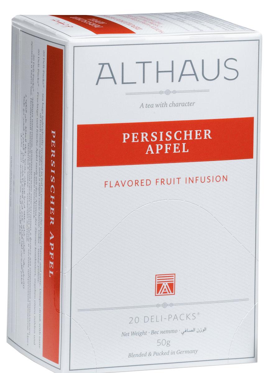 Althaus Persischer Apfel чай фруктовый в пакетиках, 20 штTALTHB-DP0026Persischer Apfel - уникальный фруктовый напиток со вкусом свежих яблок и тонким ароматом цитрусовых. Этот чай обладает нежным гармоничным вкусом с легкой кислинкой, которая мгновенно переходит в обволакивающую сладость. Яблочный чай, богатый витаминами, укрепляет здоровье и повышает тонус. Этот напиток прекрасно сочетается с десертами, содержащими корицу. В каждой упаковке находится по 20 пакетиков чая для чашек. Страна: Германия. Температура воды: 85-100 °С. Время заваривания: 4-6 мин. Цвет в чашке: солнечный желтый. Althaus - премиальная чайная коллекция. Чай, ингредиенты и ароматизаторы для своих купажей компания Althaus получает от тщательно выбираемых чайных садов, мировых поставщиков высококачественных сублимированных фруктов и трав, а также ведущих европейских производителей ароматизаторов. Пакетик Deli Pack представляет собой порционный двухкамерный мешочек из фильтр-бумаги, запаянный в специальный термоконверт с алюминиевой...