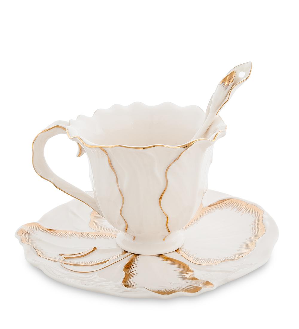 Чайная пара Pavone Лилия, цвет: белый, золотой, 3 предмета