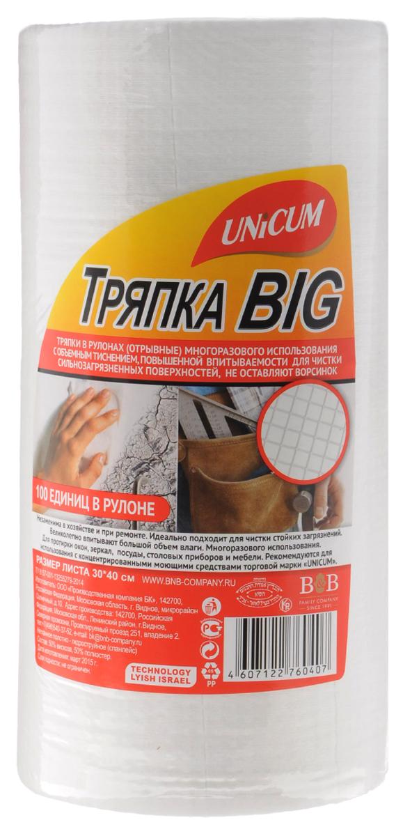 Тряпка Unicum Big, с тиснением вафля, 100 шт760407Тряпки Unicum Big с тиснением вафля незаменимы в хозяйстве и при ремонте. Идеально подходит для чистки стойких загрязнений. Великолепно впитывают большой объем влаги. Многоразового использования. Подходят для протирки окон, зеркал, посуды, столовых приборов и мебели. Количество в рулоне: 100. Размер листа: 30 см х 40 см.