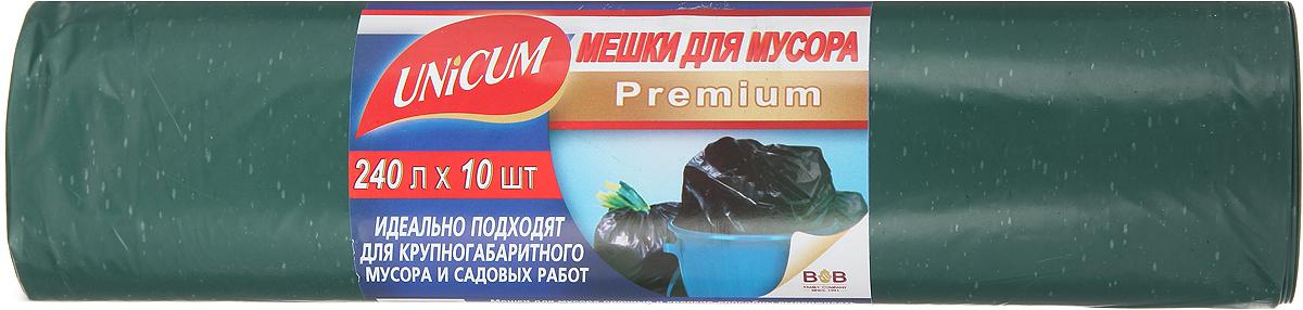 Мешки для мусора Unicum Premium, цвет: зеленый, 240 л, 10 шт530953Мешки для мусора Unicum Premium выполнены из полиэтилена высокого давления. Мешки прочные и крепкие, способны выдерживать большие объемы мусора, удобны в использовании. Возможно использование для временного хранения вещей. Идеально подходят для крупногабаритного мусора и садовых работ. Материал: полиэтилен высокого давления. Количество: 10 шт.