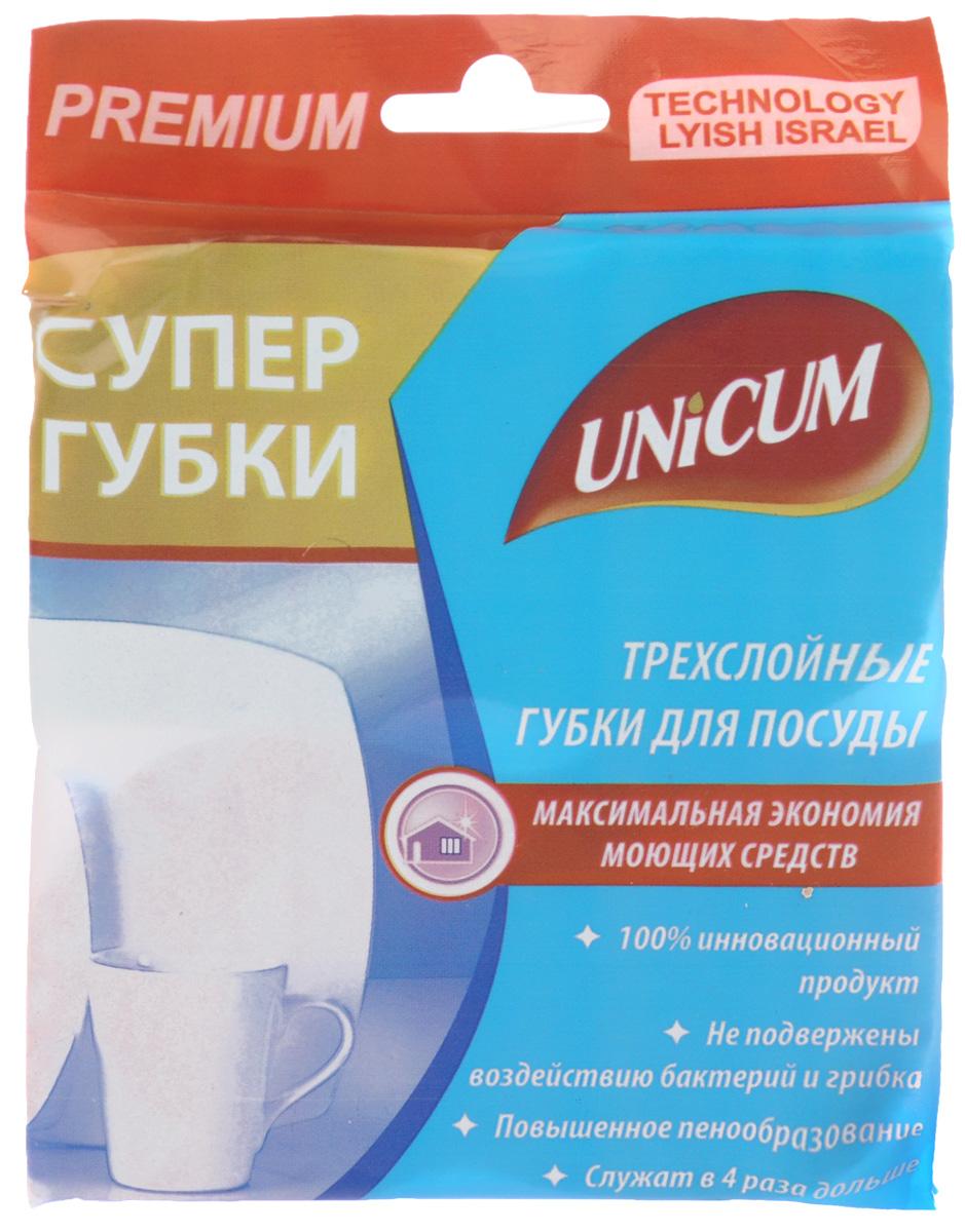 Губки антибактериальные для посуды Unicum, 12,5 х 7 х 2,5 см, 2 шт303064Губки Unicum предназначены для деликатного ухода за столовой посудой, фарфором, стеклом, хрусталем, пластиком, а также для чистки сковород, кастрюль. Жесткий абразивный слой из высококачественного нейлона 66 с добавлением мельчайших частиц порошка позволяет легко устранить подгоревшие остатки пищи и масла при чистке сковород, кастрюль, чанов. Средний слой - губка, впитывающая моющее средство и создающая обильную пену. Нижний слой из полиуретанового волокна применим для мытья посуды всех видов и стеклокерамики. Волокна всех слоев содержат особое вещество, предохраняющее от появления бактерий и грибка, увеличивая долговечность губки минимум в 4 раза. Фигурная форма губки позволяет удобно расположить ее в руке при чистке посуды.
