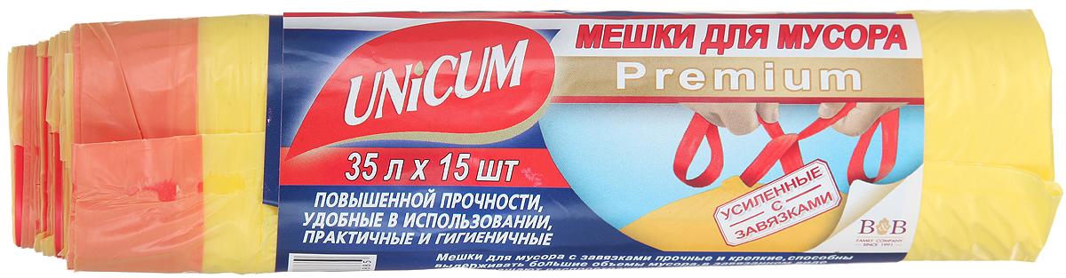 Мешки для мусора Unicum Premium, с завязками, цвет: желтый, 35 л, 15 шт530885Мешки для мусора Unicum Premium выполнены из первичного полиэтилена высокого давления. Мешки прочные и крепкие, способны выдерживать большие объемы мусора. Благодаря прочным ручкам удобны в переноске, в завязанном виде предотвращают распространение неприятного запаха. Возможно использование для временного хранения вещей. Материал: первичный полиэтилен высокого давления. Количество: 15 шт.