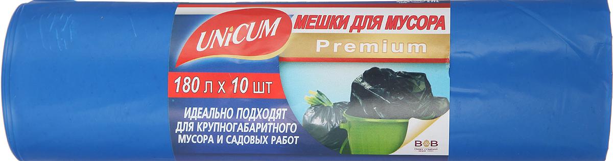 Мешки для мусора Unicum Premium, цвет: синий, 180 л, 10 шт305518Мешки для мусора Unicum Premium выполнены из полиэтилена высокого давления. Мешки прочные и крепкие, способны выдерживать большие объемы мусора, удобны в использовании. Возможно использование для временного хранения вещей. Идеально подходят для крупногабаритного мусора и садовых работ. Материал: полиэтилен высокого давления. Количество: 10 шт.