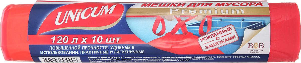 Мешки для мусора Unicum Premium, с завязками, цвет: красный, 120 л, 10 шт305495Мешки для мусора Unicum Premium выполнены из первичного полиэтилена высокого давления. Мешки прочные и крепкие, способны выдерживать большие объемы мусора. Благодаря прочным ручкам удобны в переноске, в завязанном виде предотвращают распространение неприятного запаха. Возможно использование для временного хранения вещей. Материал: первичный полиэтилен высокого давления. Количество: 10 шт.