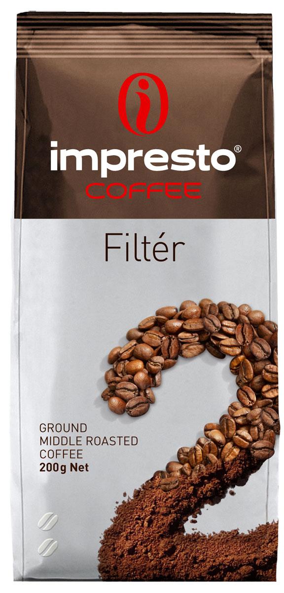 Impresto Filter кофе молотый, 200 гCIMPCH-000006Коллекция Impresto – это особая линейка с оригинальными рецептурами из 100% арабики и сбалансированных купажей с робустой, а также декофеинизированный кофе и фильтр-смеси. Мы с радостью предоставляем возможность каждому ценителю кофе приготовить дома превосходный утренний американо, послеобеденную чашечку эспрессо и вечерний кофе с молоком. Купажи Impresto – это зерно с лучших плантаций мира, мастерство европейского обжарщика, тщательное купажирование и высокотехнологичное производство с приверженностью к итальянским кофейным традициям. Impresto – это не только качественный кофе, но и бренд с насыщенной эмоциональной составляющей. Impressive, rest, espresso, restaurant, presto – все это несет в себе Impresto. Новый кофе Impresto – это идеальный выбор современных и динамичных людей, которые любят и умеют ценить действительно вкусный кофе. Описание: Это идеальный выбор для тех, кто хочет начать свой день с бодрого и яркого утра. Кофе раскрывается в многогранной...