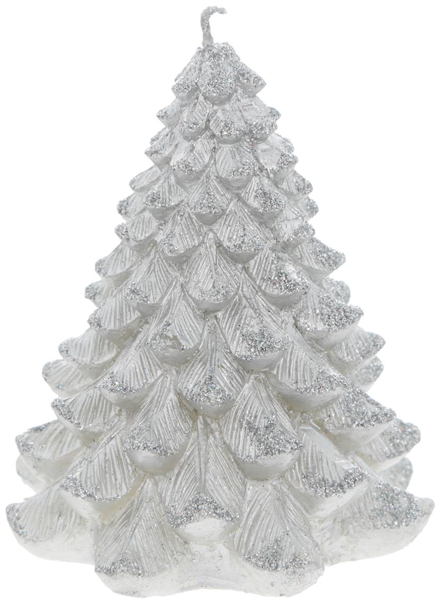 Свеча Winter Wings Елка, цвет: серебристый, высота 9 смN161789Свеча Winter Wings Елка, изготовленная из парафина с блестками, станет прекрасным украшением интерьера помещения в преддверии Нового года. Такая свеча создаст атмосферу таинственности и загадочности и наполнит ваш дом волшебством и ощущением праздника. Хороший сувенир для друзей и близких.