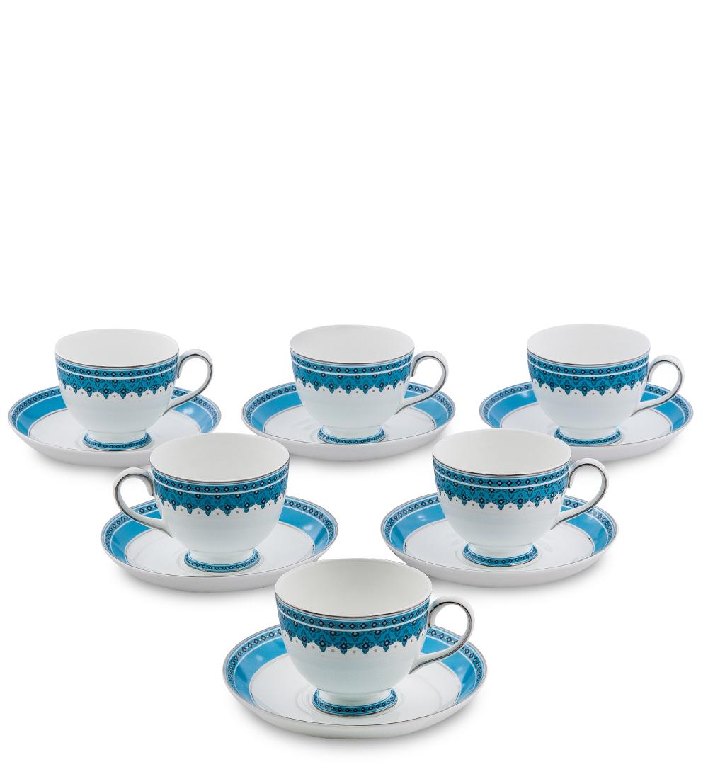 Чайный набор Pavone Византия, цвет: белый, голубой, 12 предметов