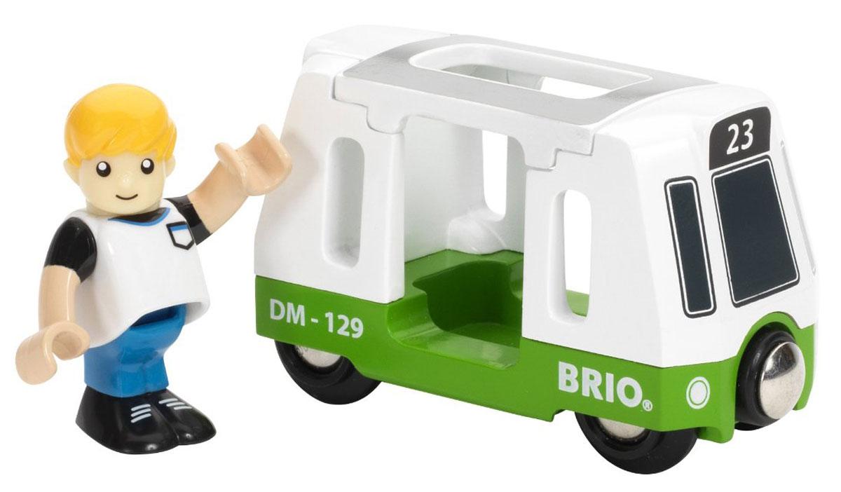 Brio Вагончик трамвая33731Вашему ребенку обязательно понравится яркая игрушка Вагончик трамвая. Игрушка изготовлена из пластика и металла. Вместе с вагончиком в наборе имеется фигурка человека. Фигурку можно легко посадить внутрь трамвая, предварительно сняв верхнюю крышку вагона. Спереди и сзади вагон дополнен магнитными вставки, с помощью которых может соединяться с другими машинками, или вагончиками Brio. Игрушка может использоваться как элемент железной дороги. С этой игрушкой ребенок может значительно разнообразить свои игры. Игры с машинками позволяют ребенку не только получать удовольствие от игры, но и развивать пространственное воображение, мелкую моторику и координацию движений.