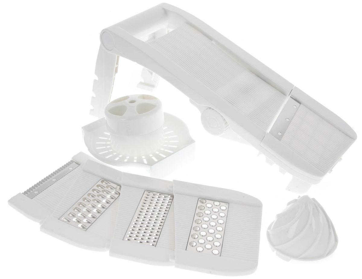 Терка Dekok, многофункциональнаяUKA-1201Многофункциональная компактная терка Dekok предназначена для нарезки и шинковки овощей и фруктов, содержит шесть съемных насадок: прямая и волнистая нарезка, 3 вида шинковки, насадка-соковыжималка. Сменные насадки убираются непосредственно в корпус терки для компактного хранения. Специальные пазы на корпусе позволяют устанавливать терку на различные емкости. Конструкция ручки позволяет эксплуатировать терку в горизонтальном положении. Длина терки: 34 см. Ширина терки: 13 см.
