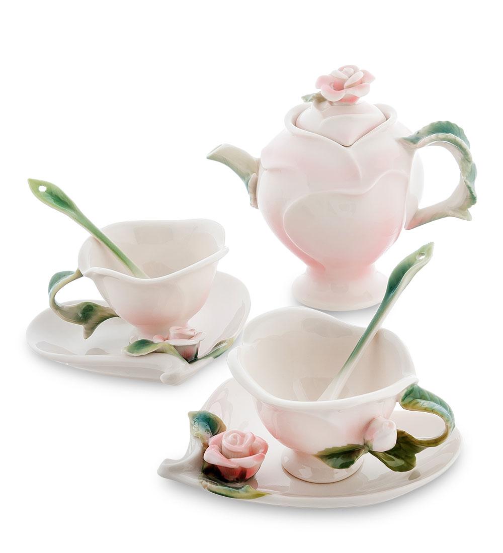 """Чайный набор Pavone """"Роза"""", цвет: розовый, зеленый, 7 предметов"""