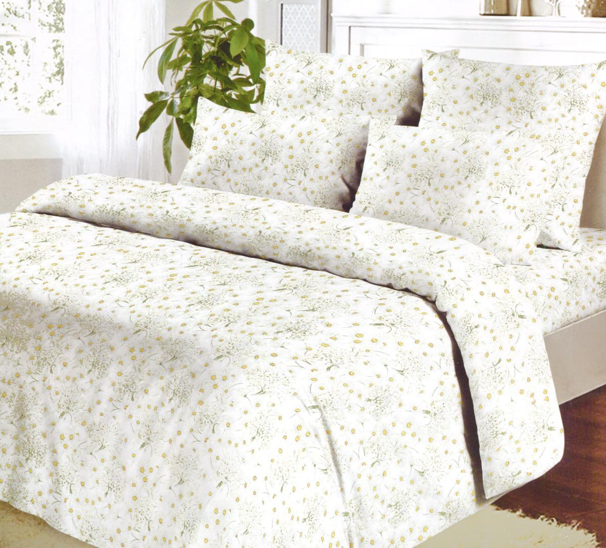 Комплект белья Коллекция Ромашковое поле, 1,5-спальный, наволочки 70х70, цвет: белый, желтый, зеленый