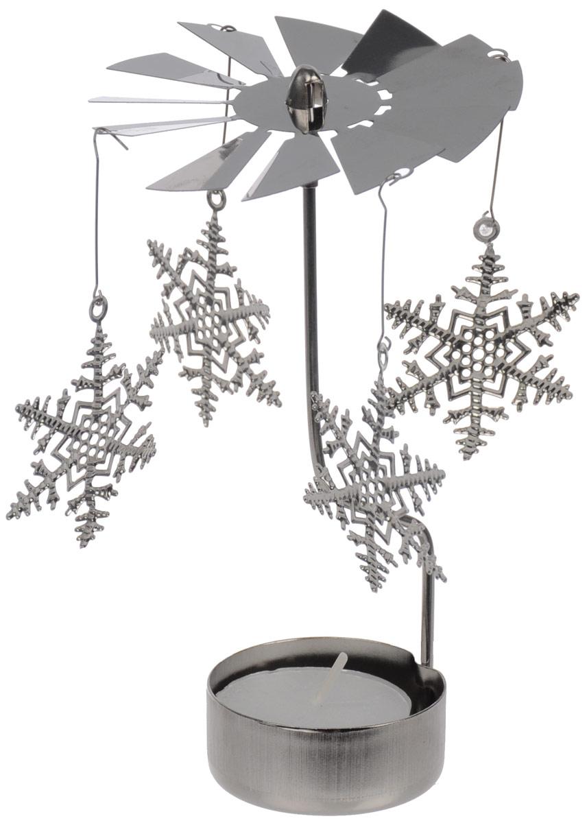 Вертушка с чайной свечой Gardman Снежинки19691XSВертушка с чайной свечой Gardman Снежинки станет отличным дополнением интерьера и создаст праздничное настроение в вашем доме. Изделие выполнено из нержавеющей стали в виде вертушки, на которую подвешиваются снежинки. Декоративные снежинки вращаются благодаря горению свечи. Свеча входит в комплект. Диаметр вертушки: 8 см. Высота изделия: 14 см. Диаметр снежинок: 5 см.