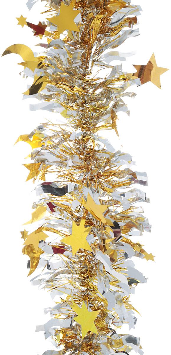 Мишура новогодняя Sima-land, цвет: золотистый, серебристый, диаметр 9 см, длина 200 см. 825979825979_золотистый/серебристыйМишура новогодняя Sima-land Звездопад, выполненная из двухцветной фольги, поможет вам украсить свой дом к предстоящим праздникам. А новогодняя елка с таким украшением станет еще наряднее. Мишура армирована, то есть имеет проволоку внутри и способна сохранять придаваемую ей форму. Новогодней мишурой можно украсить все, что угодно - елку, квартиру, дачу, офис - как внутри, так и снаружи. Можно сложить новогодние поздравления, буквы и цифры, мишурой можно украсить и дополнить гирлянды, можно выделить дверные колонны, оплести дверные проемы.