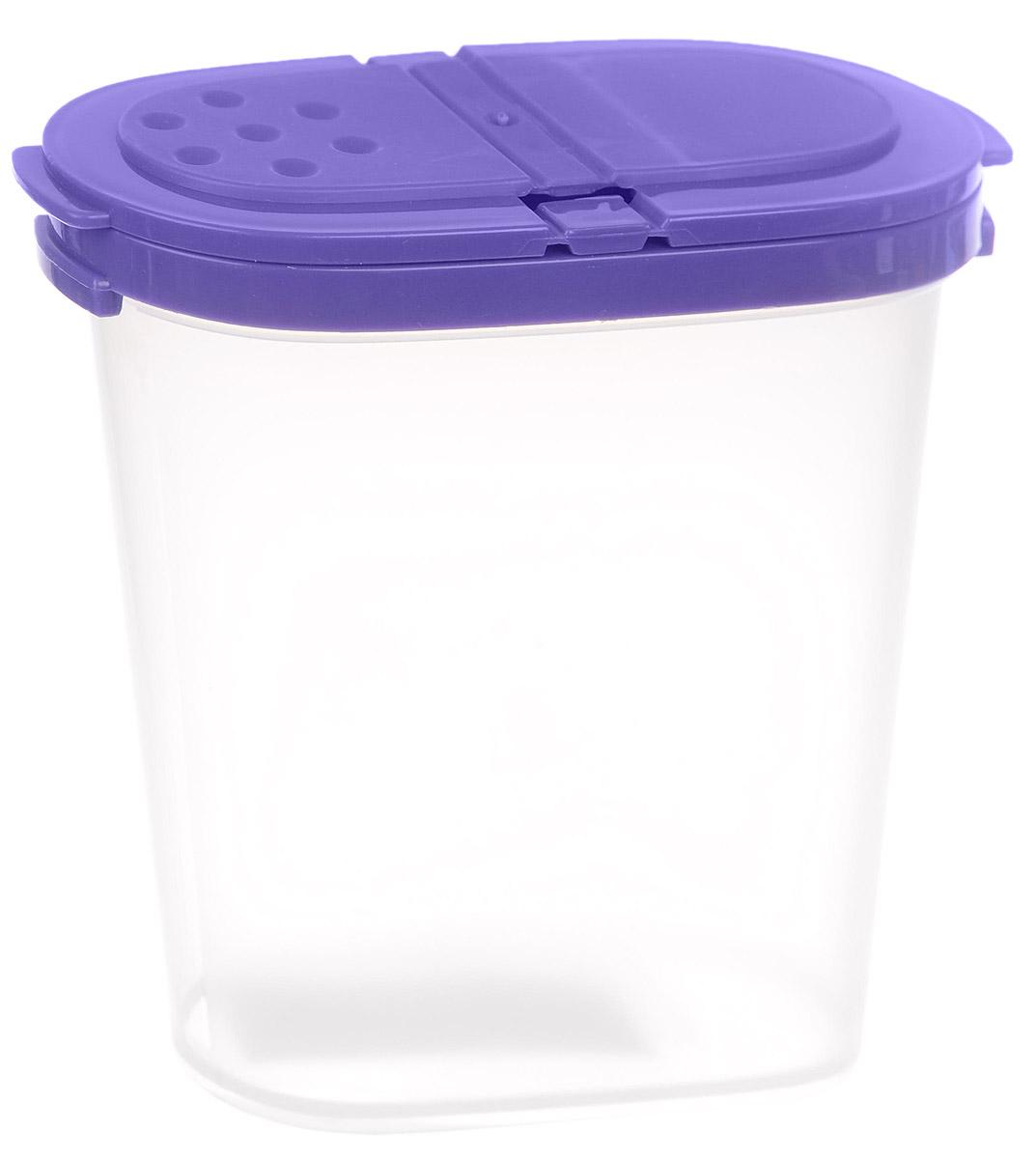 Контейнер для специй Idea, цвет: фиолетовый, прозрачный, 270 млМ 1246_фиолетовыйКонтейнер Idea, изготовленный из высококачественного пластика, позволит вам хранить разнообразные специи. Изделие оснащено крышкой с 2 отделениями. Одно отделение имеет 1 большое отверстие, другое выполнено в виде сита с отверстиями диаметром 3 мм. Контейнер Idea для хранения специй станет незаменимым помощником на вашей кухне.