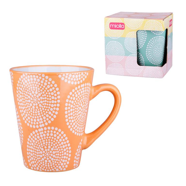 Кружка Miolla, цвет: оранжевый, 340 мл2010059U-2Оригинальная кружка Miolla, выполненная из высококачественной керамики, сочетает в себе изысканный дизайн с максимальной функциональностью. Красочность оформления кружки придется по вкусу и ценителям классики, и тем, кто предпочитает утонченность и изысканность. Диаметр (по верхнему краю): 9 см. Высота: 11,5 см. Объем: 340 мл.