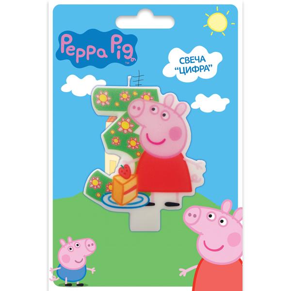 Peppa Pig Свечи для торта детские Свеча цифра №3 Peppa Pig