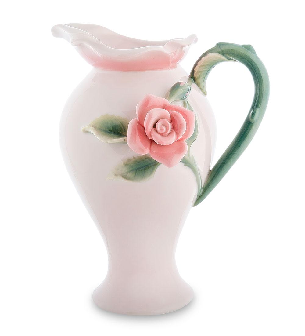 Кувшин Pavone Роза, 1 л103835Кувшин Pavone Роза выполнен из фарфора и украшен изящным объемным бутоном розы. В нем будет удобно хранить и подавать на стол молоко, соки или воду. Такой кувшин украсит любой кухонный интерьер и станет хорошим подарком для ваших близких. Диаметр дна: 8 см см. Диаметр горлышка: 6 см. Высота: 22 см.