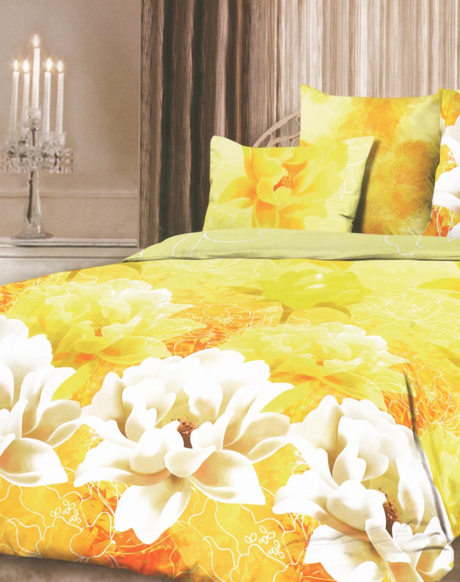 Комплект белья Romantic Солнечное настроение, евро, наволочки 50х70, цвет: желтый, оранжевый, белый. 314942314942Роскошный комплект постельного белья Romantic Солнечное настроение выполнен из ткани Lux Cotton, произведенной из натурального длинноволокнистого мягкого 100% хлопка. Ткань приятная на ощупь, при этом она прочная, хорошо сохраняет форму и легко гладится. Комплект состоит из пододеяльника, простыни и двух наволочек, оформленных цветочным принтом. Постельное белье Romantic создано специально для утонченных и романтичных натур. Дизайн постельного белья подчеркнет ваш индивидуальный стиль и создаст неповторимую и романтическую атмосферу в вашей спальне.