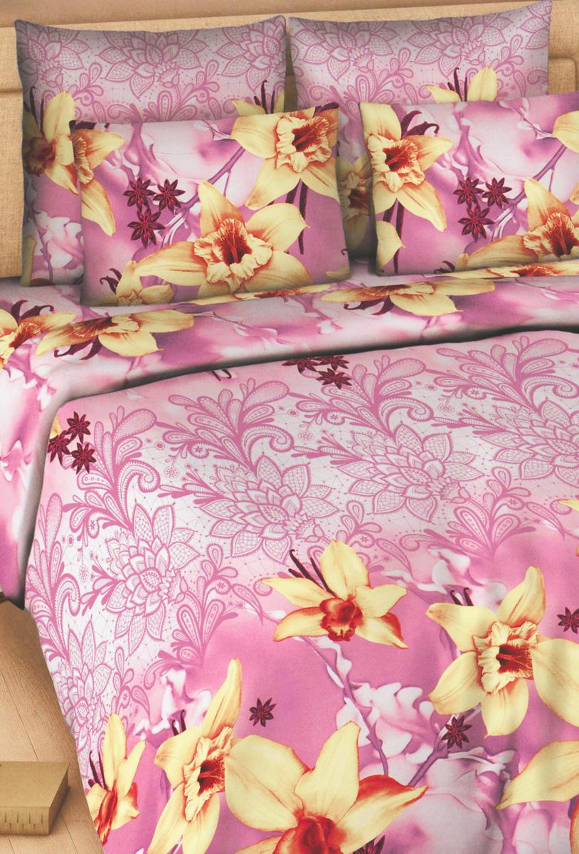 Комплект белья Василиса Ваниль и корица, 2-х спальный, наволочки 70х70, цвет: светло-сиреневый, желтый, розовый