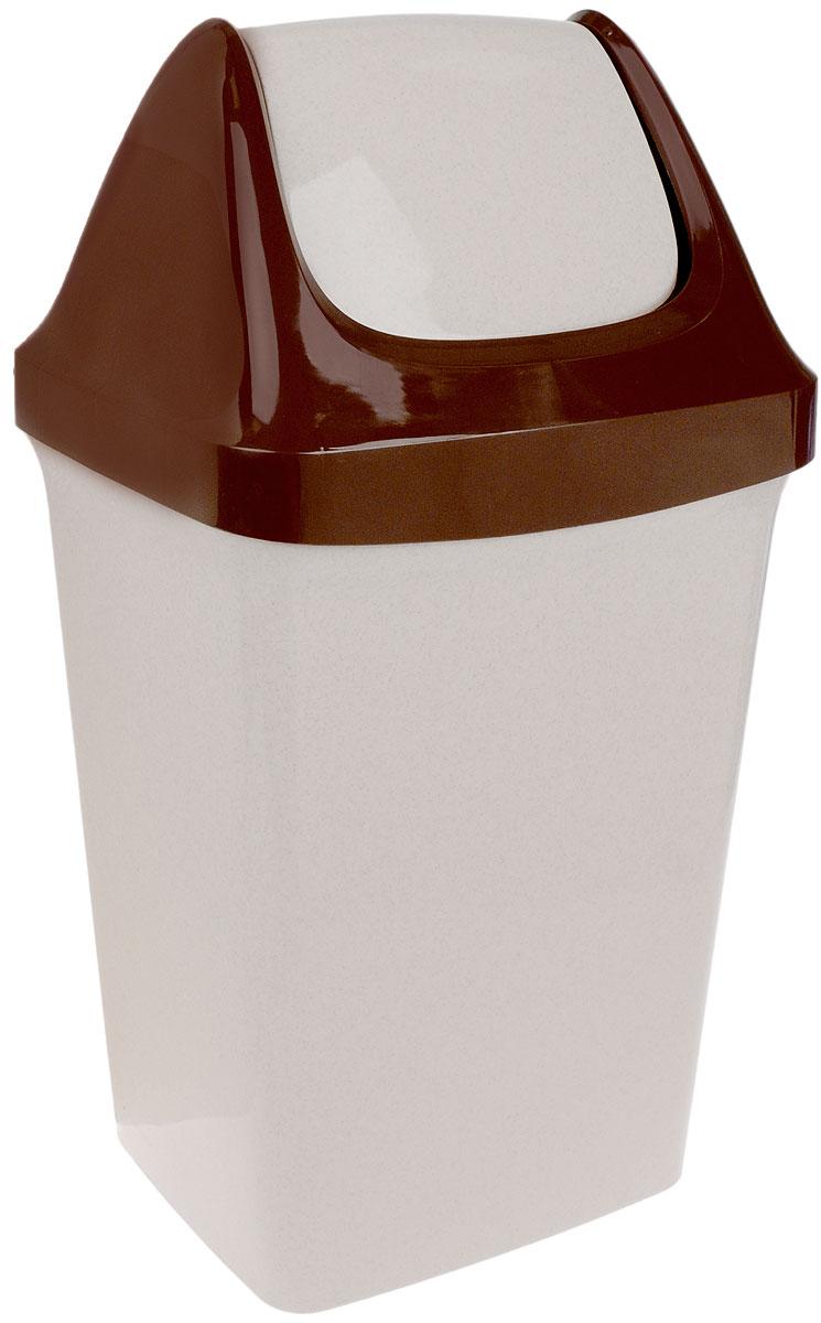 """Idea (М-пластика) Контейнер для мусора Idea """"Свинг"""", цвет: светло-бежевый, коричневый, 25 л"""