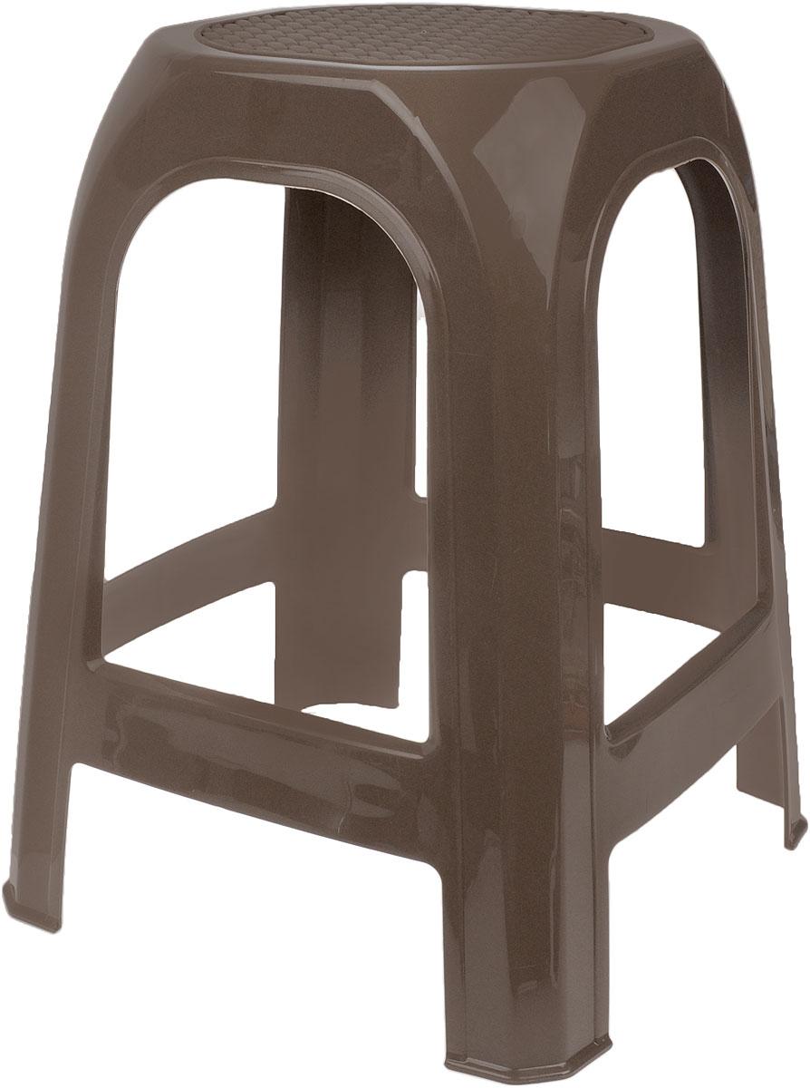 Табурет Idea, цвет: темно-бежевый, высота 46 смМ 2294_бежевый ротангТабурет Idea выполнен из прочного высококачественного пластика. Надежная опора ножек предотвращает опрокидывание табурета. Сиденье изделия оформлено рельефным рисунком под плетение. Такой табурет обязательно пригодятся и дома, чтобы разместить гостей за кухонным столом, и на даче, чтобы организовать место для отдыха или обеда на свежем воздухе.