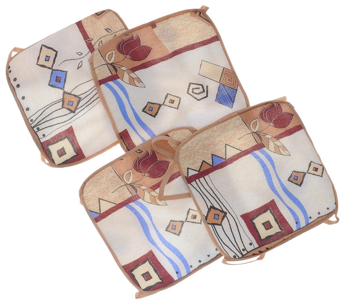 Набор подушек для стула Eva, цвет: бежевый, коричневый, 34 х 34 см, 4 штЕ06-1_бежевый, коричневыйПодушки на стул Eva, выполненные из хлопка с наполнителем из поролона, легко крепятся на стул с помощью завязок. Изделия прекрасно подойдут для стульев на кухне или в столовой. Правильно сидеть - значит сохранить здоровье на долгие годы. Жесткие сидения подвергают наше здоровье опасности. Подушки с наполнителем из поролона помогут предотвратить многие беды, которыми грозит сидячий образ жизни. Комплектация: 4 шт. Размер подушки: 34 см х 34 см х 0,6 см.