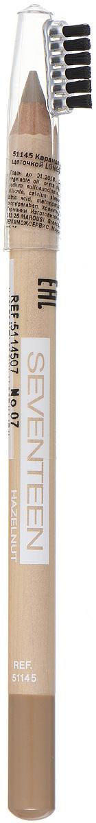 SEVENTEEN Карандаш для бровей с щеточкой т.07 LONGSTAY EYE BROW SHAPERореховый, 1,14 гр5114507Seventeen Longstay Eye Brow Shaper - это специальный карандаш для создания идеального контура бровей. Уникальная текстура и состав содержащий пудру, делает продукт более стойким. Обладает водонепроницаемыми свойствами и отличной цветопередачей. При нанесении не царапает нежную кожу. Карандаш имеет удобную щеточку-расчестку на колпачке. Товар сертифицирован.