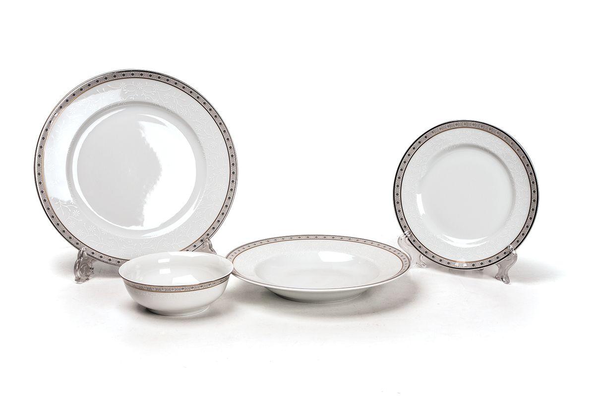 Сервиз столовый 24пр, цвет: белый с платиной539024 1515Глубокая тарелка 22 см 6 штук , тарелка 27 см 6 штук , десертная тарелка 16 см 6 штук , салатник 13 см 6 штук. Элегантная посуда класса люкс теперь на вашем столе каждый день. Сделанные из высококачественного материала с использованием новейших технологий, предметы сервировки Tunisie Porcelaine невероятно прочны и прекрасно подходят для повседневного использования. Материал: фарфор: цвет: белый с платиной Серия: TANIT
