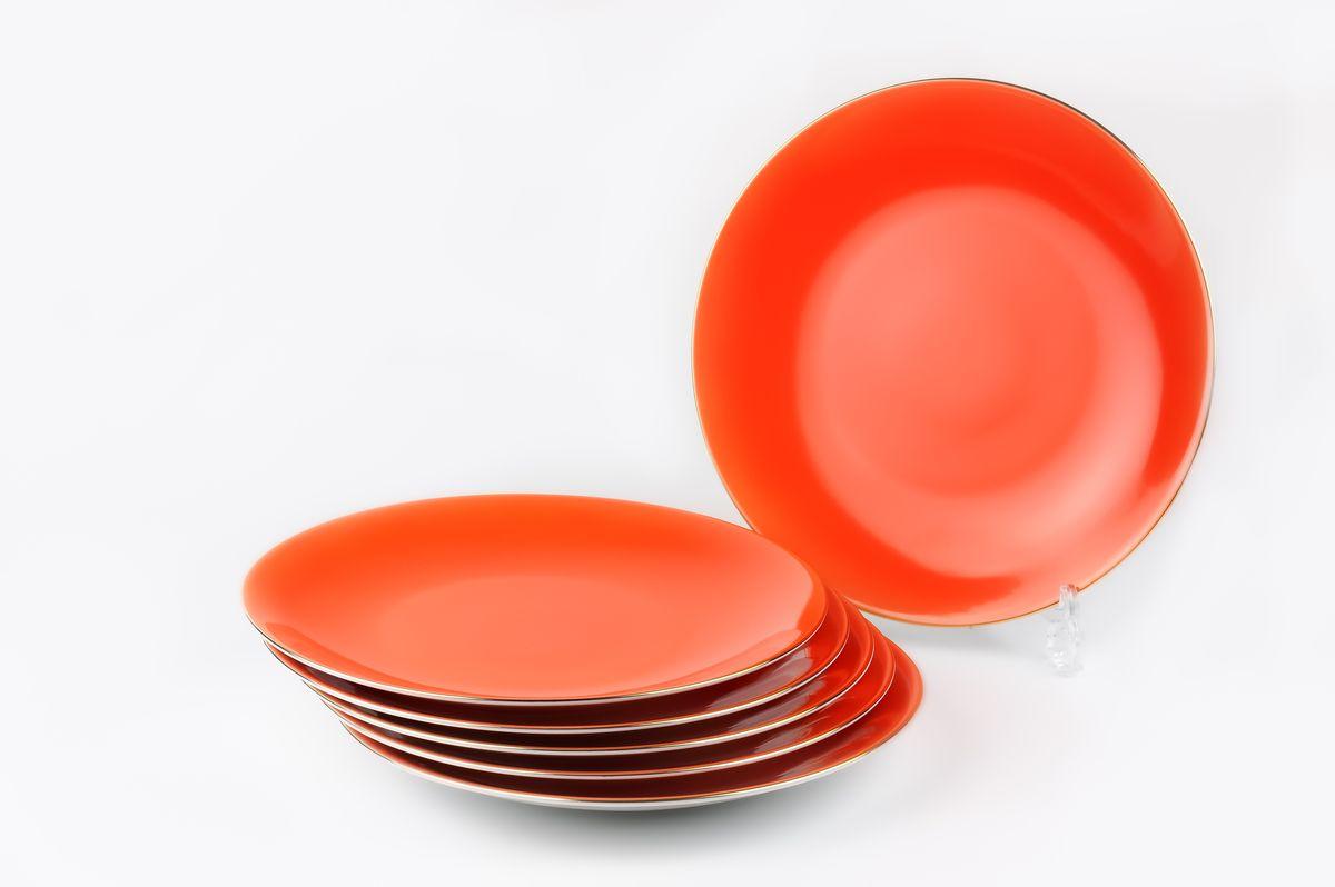 Monalisa 3127 Набор дессертных тарелок 21см*6 шт, цвет: оранжевый с золотом7 291 063 127В наборе тарелка 21 см 6 штук