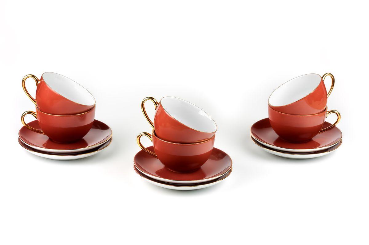 Monalisa 3126 набор чайных пар 220мл*6шт (12пр), цвет: мокко с золотом6 195 013 126Чайная пара 220 мл * 6 штук/ 12 предметов Материал: фарфор: цвет: мокко с золотом Серия: MONALISA