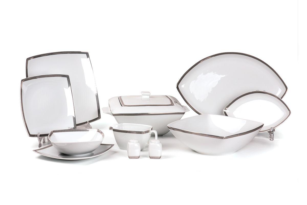 Kyoto 1554 столовый сервиз 25 пр. платина , цвет: белый с платиной719125 1554Супница 2,8 л , глубокая тарелка 22 см 6 штук , тарелка 26 см 6 штук , десертная тарелка 20 см 6 штук , солонка, перечница, Блюдо овальное 25 см, Блюдо овальное 40 см , салатник 25см, соусник 230мл. Элегантная посуда класса люкс теперь на вашем столе каждый день. Сделанные из высококачественного материала с использованием новейших технологий, предметы сервировки Tunisie Porcelaine невероятно прочны и прекрасно подходят для повседневного использования.