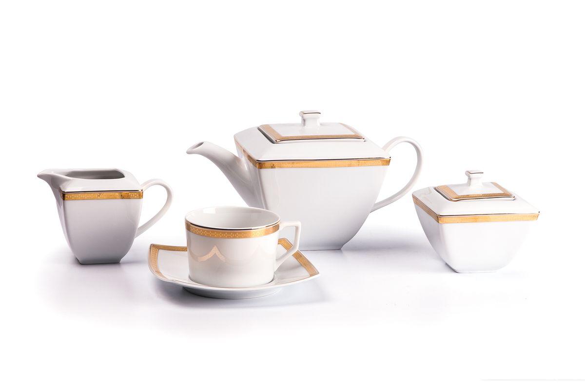 Kyoto 1555 Чайный сервиз 15 пр. золото , цвет: белый с золотом719510 1555Чайник 1 л, сахарница 250мл, молочник 280мл, чайная пара 220 мл *6 штук . Фарфор фабрики Tunisie Porcelaine, производится в Тунисе из знаменитой своим качеством и белизной глины, добываемой во французской провинции Лимож.Преимущества этого фарфора заключаются в устойчивости к сколам и трещинам, что возможно благодаря двойному термическому обжигу. Европейский дизайн, декор и формы обеспечиваются за счет тесного сотрудничества фабрики с ведущими мировыми дизайн-бюро такими как: Nelly Reynal, Yves De la Rosiere, Sarah Anderson, Heracles. Материал: фарфор: цвет: белый с золотом Серия: KYOTO